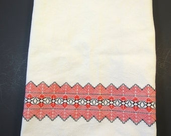 Swedish Huck Weave Towel White w/ Red Black Stitching Borders Large 16 x 37 inches Hand Stitching Intricate Design Kitchen Towel