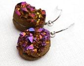 Raw Druzy Stone Earrings, Purple Peach Titanium Druzy Earrings, Hypoallergenic Nickel Free Jewelry for Sensitive Skin, Wire Wrapped Crystal
