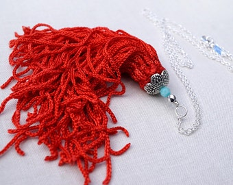 4th July Long Tassel Necklace Big FAT Red Silk Tassel Pendant Turquoise blue Agate Stone Bead Sterling Silver Chain Necklace Bright boho