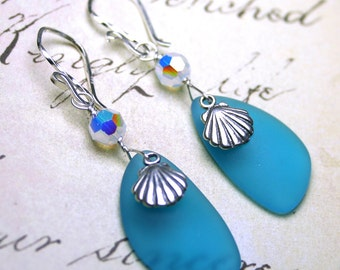 Turquoise Sea Glass Earrings - OOAK - A Day At The Beach Earrings With Swarovski Crystal and Sterling Silver - White Opal