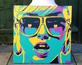 Pop art woman painting,canvas,stencil art,spray paint art,sunglasses,hearts,earings,abstract,portrait,girl,her,home living,artwork,design
