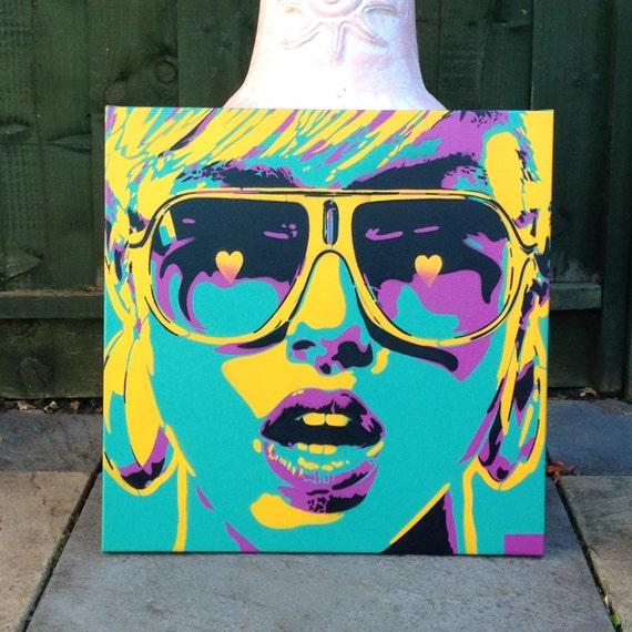 pop art woman painting canvas stencil art spray paint art sunglasses. Black Bedroom Furniture Sets. Home Design Ideas