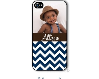 Personalized Photo iPhone Case Custom Monogram Case iPhone 4 iPhone 5 iPhone 6 Plus Tough Case Photo Case Chevron
