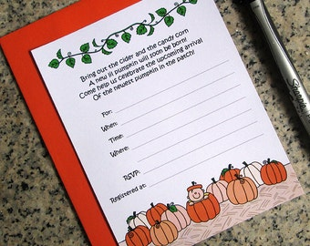lil pumpkin lined baby shower invitations customized for either boy or girl with orange envelopes DIY - set of 10