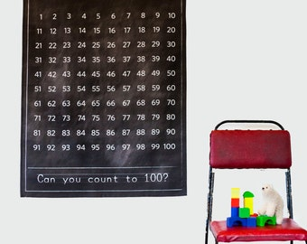 Vintage School chart/ vintage Educational poster /  Black chalkboard numbers chart/ fabric school chart/ numbers 1-100/ teachers gift