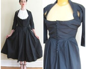 Vintage 1940s Couture Nettie Rosenstein Black Party Dress / 40s Designer New Look Cocktail Dress / Large and Busty