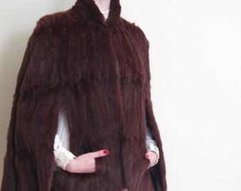 Vintage 1940 Ermine Fur Capelet Jacket / 40s Brown Fur Cape Coat Wrap by Ralph Rupley