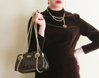 Vintage 1960s Double Body Shoulder Bag / 60s Brown Patent Vinyl and Gold Chain Purse