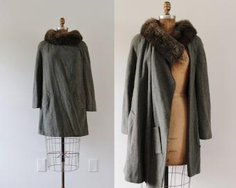 1950s Pebbled Brook grey wool coat / 50s mink fur