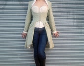 RESERVED for Celine: Steampunk Cutaway Jacket in Striped Green Silk- Lined Victorian Coat