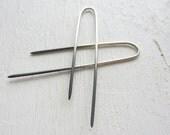 Lucky - Sterling Silver Threader Earrings. Long Arc Earrings. Modern Asymmetric Earrings. Mixed Metal. Minimal Jewelry. Gift for Her