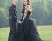 Gorgeous Black Wedding Dress with Tulle Custom Made to your Measurements Sweetheart Neckline