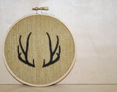 Antler . Embroidery Hoop Art . Ready To Ship