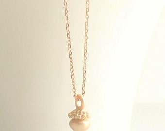 Acorn Necklace - rose gold tiny charm - pale pink matte finish autumn fall pendant on delicate rose gold plated chain - choose custom length
