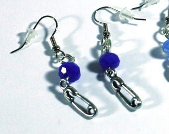 Blue Crystal New Baby Earrings feature Diaper Pin Charm and Crystal Bead - Perfect for Baby Showers and New Moms
