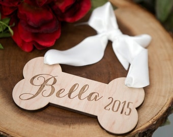 Dog Pet Ornament Personalized Rustic Wooden Dog Bone Ornament Engraved for Christmas Tree or Holiday Decor Tree Ornament (Item - ODB200)