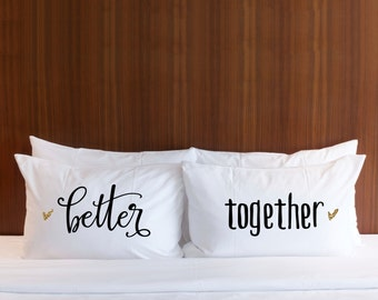 Engagement or Wedding Gift - Pillowcases Wedding Gift for Couples - Better Together Pillowcases Glitter, Gift for Him Her (Item - PBT400)