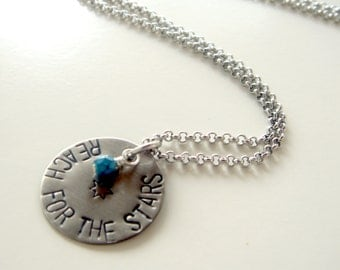 Reach for the stars - stamped necklace - pendant