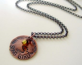 Song bird Necklace | stamped word necklace | copper pendant | Charm necklace | Layering necklace | Music necklace