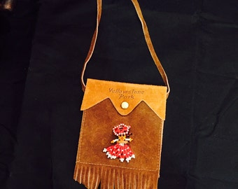 Vintage Native American Beaded Doll On Leather Suede Fringe Pouch Yellowstone Park Souvenir