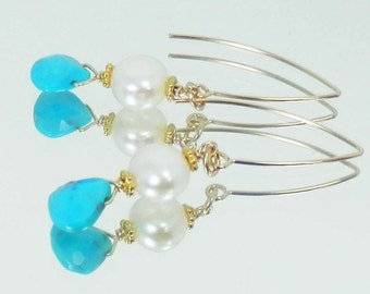 Sleeping Beauty Turquoise Briolettes and White Pearls on Gold Filled Ear Wires