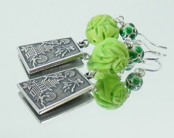 Carved Spring Green Turquoise, Enamel. Pagodas and Sterling Silver Earrings