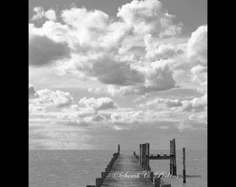 Coastal Wall Art-B&W Print-Seaside Photo-Wooden Dock-Fine Art Photography-8x10/8x12/11x14/11x16/16x20/16x24/20x24/20x30/24x36/30x45-Vertical