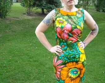 Vintage 60s Dress // Floral Print Shift Dress // Polished Cotton Hawaiian Dress // Mod Neon Dress // Pink Dress Turquoise Dress