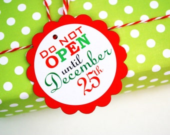 12 Christmas Tags, Do not open until Dec 25th, Package Labels Set, Christmas gifts packing, Christmas hung tags, twine on the side, A849