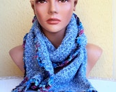 Sale! Knit Scarf Cowl Neckwarmer Blue Soft Boucle Spring Fall Winter Women Clothing Fashion Accessories Gift For Her  Valentine's Day Gift