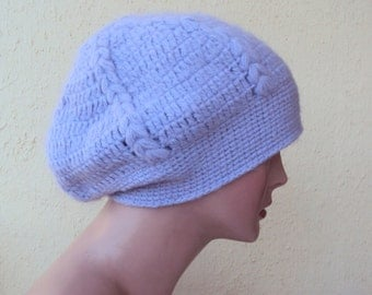 CLEARANCE SALE! Knit Hat Beanie Hand Knit Lilac Winter Hat Women's Fashion Accessories Free Shipment