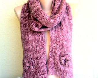 CLEARANCE SALE! Knit Scarf Rusty Rose Super Soft Wool Scarf Neckwarmer Women Fashion Accessories Gift For Her Free Shipment