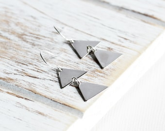 Two Triangle Earrings - Simple Silver Dangle Earrings, Silver Plated Triangle Drop Earrings, Everyday Jewelry, Modern Geometric Jewelry