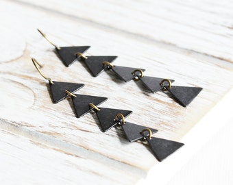 Long Black Earrings - Black Triangle Earrings with Antiqued Brass Hooks, Long Dangle Earrings, Rustic Geometric Jewelry, 2 3/4 inch Earrings