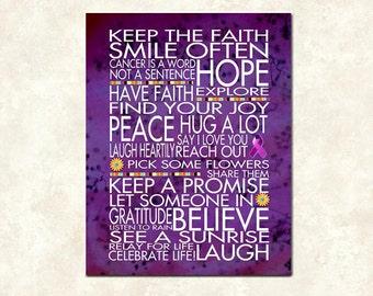 Keep The Faith - 11x14 Cafe Mount Word Art Print - Relay for Life - Greeting Card- Frame ready art - Canvas - Cancer Positive Motivation