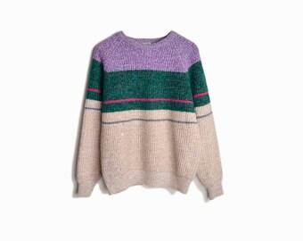 Vintage Multi-Stripe Marled Wool Sweater - men's medium