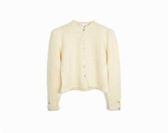 Vintage Puff Shoulder Wool Cardigan in Ivory Cream - women's large