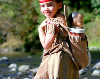 Native American inspired Girl Indian pretend dress up fun  Costume for children size 6 through 11