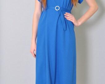 Vintage Dress 80s Royal Blue Dress with Cap Sleeves Mesh Cut Out Cotton Dress Midi S M L