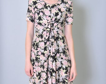 Vintage Floral Dress Midi 90s Grunge Dress Tie Front Long Flower Print Dress S M L