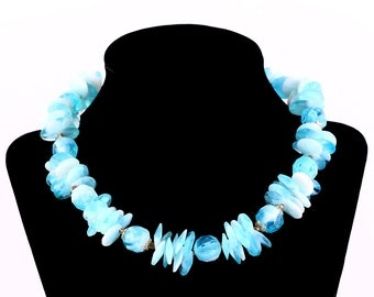 VINTAGE BLUE NECKLACE Retro Plastic Funky Abstract Jewelry Gift Hong Kong Estate