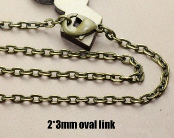 20PCS Antique Bronzed 2x3mm Oval Loop Necklace/ Chain end with Lobster Clasp Wholesale, 27 inches/ 35 inches as your choice- Z6426