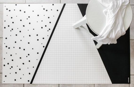 Black and White Geometric Rug / Kitchen Rug / Minimalist Kids Rug / Decorative Floor Rug   Kitchen Mat / Linoleum Rug / Gift for New Mom