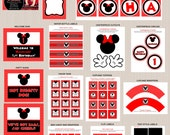 Minnie Mouse Birthday Party Printables, Minnie Mouse Party Decorations, Polka Dots, Red, Black, Printable Personalized Package