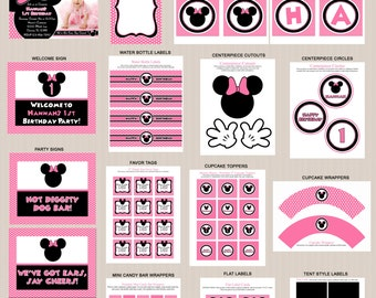 Minnie Mouse Birthday Party Printables, Minnie Mouse Party Decorations, Polka Dots, Pink, Black, Printable Personalized Package