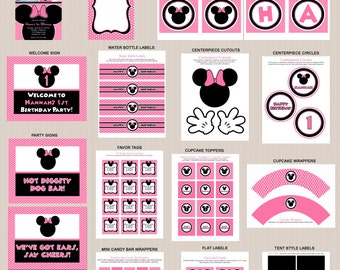 Minnie Mouse Birthday Party Printables 2, Printable Minnie Mouse Decorations, Polka Dots, Pink, Black, Invitation Included, Printable PDFs