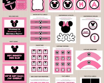 Minnie Mouse Birthday Party Printables 4, Printable Minnie Mouse Decorations, Polka Dots, Pink, Black, Invitation Included, Printable PDFs