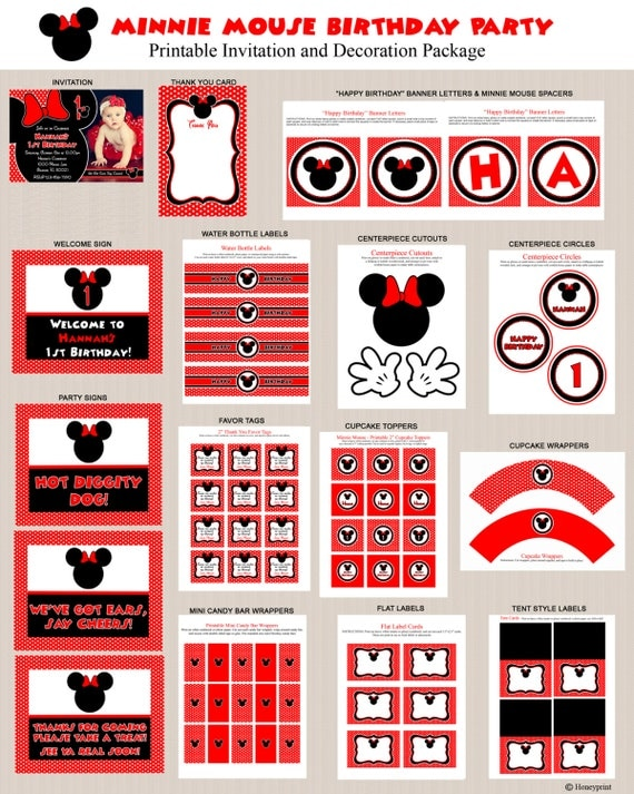Minnie Mouse Birthday Party Decorations Red Black Polka Dots