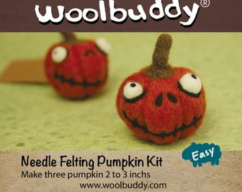 Needle Felting Pumpkin kit, Halloween crafts