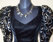 Vintage 1980s Dave & Johnny Velvet Sequin Gown Sz 11/12